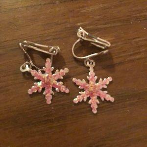 Pink Glitter snowflake clip earrings